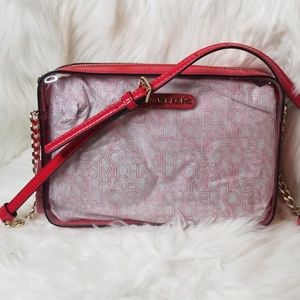 NWT MICHAEL KORS LARGE EAST WEST CLEAR RED XBODY